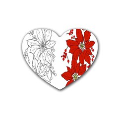 Poinsettia Flower Coloring Page Rubber Coaster (heart)  by Simbadda