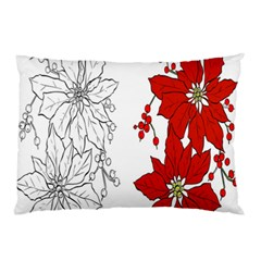 Poinsettia Flower Coloring Page Pillow Case by Simbadda