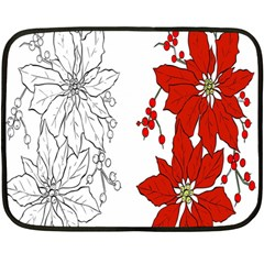 Poinsettia Flower Coloring Page Double Sided Fleece Blanket (mini)  by Simbadda