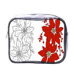 Poinsettia Flower Coloring Page Mini Toiletries Bags by Simbadda