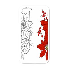Poinsettia Flower Coloring Page Apple Iphone 4 Case (white) by Simbadda