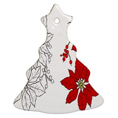 Poinsettia Flower Coloring Page Ornament (christmas Tree)  by Simbadda