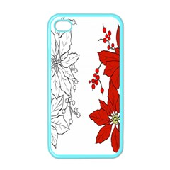 Poinsettia Flower Coloring Page Apple Iphone 4 Case (color) by Simbadda