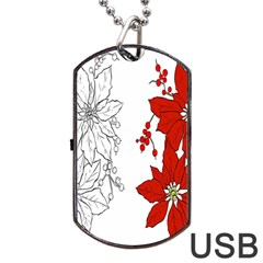 Poinsettia Flower Coloring Page Dog Tag Usb Flash (one Side) by Simbadda