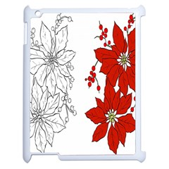 Poinsettia Flower Coloring Page Apple Ipad 2 Case (white) by Simbadda