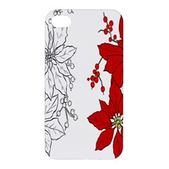 Poinsettia Flower Coloring Page Apple Iphone 4/4s Hardshell Case by Simbadda