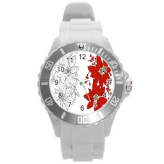 Poinsettia Flower Coloring Page Round Plastic Sport Watch (l) by Simbadda