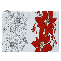 Poinsettia Flower Coloring Page Cosmetic Bag (xxl)