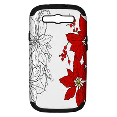 Poinsettia Flower Coloring Page Samsung Galaxy S Iii Hardshell Case (pc+silicone) by Simbadda