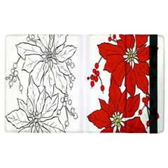 Poinsettia Flower Coloring Page Apple Ipad 2 Flip Case by Simbadda