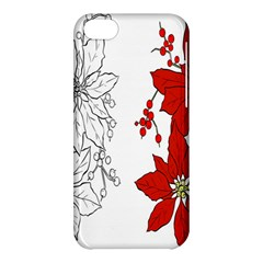 Poinsettia Flower Coloring Page Apple Iphone 5c Hardshell Case by Simbadda