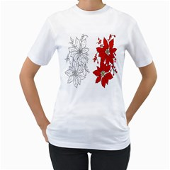 Poinsettia Flower Coloring Page Women s T Shirt (white)  by Simbadda