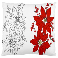 Poinsettia Flower Coloring Page Large Flano Cushion Case (two Sides) by Simbadda