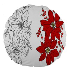 Poinsettia Flower Coloring Page Large 18  Premium Flano Round Cushions by Simbadda