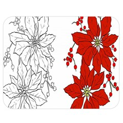 Poinsettia Flower Coloring Page Double Sided Flano Blanket (medium)  by Simbadda