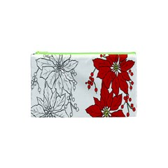 Poinsettia Flower Coloring Page Cosmetic Bag (xs) by Simbadda