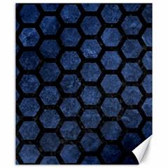Hexagon2 Black Marble & Blue Stone (r) Canvas 20  X 24  by trendistuff