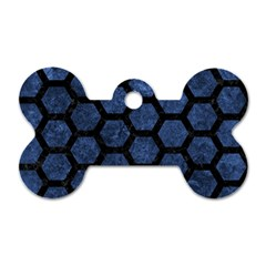 Hexagon2 Black Marble & Blue Stone (r) Dog Tag Bone (one Side) by trendistuff