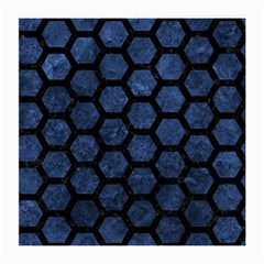 Hexagon2 Black Marble & Blue Stone (r) Medium Glasses Cloth by trendistuff