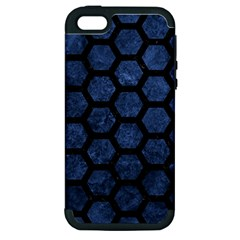 Hexagon2 Black Marble & Blue Stone (r) Apple Iphone 5 Hardshell Case (pc+silicone) by trendistuff