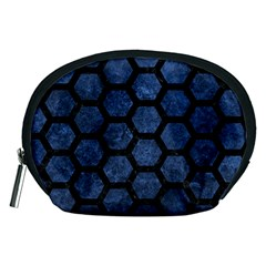Hexagon2 Black Marble & Blue Stone (r) Accessory Pouch (medium) by trendistuff