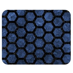 Hexagon2 Black Marble & Blue Stone (r) Double Sided Flano Blanket (medium) by trendistuff
