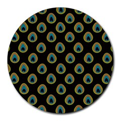 Peacock Inspired Background Round Mousepads by Simbadda