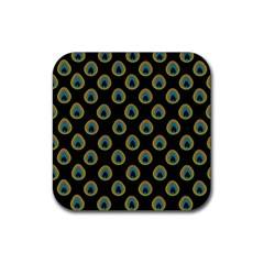 Peacock Inspired Background Rubber Square Coaster (4 Pack)  by Simbadda