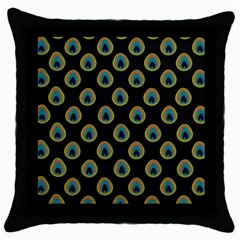 Peacock Inspired Background Throw Pillow Case (black)
