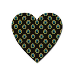 Peacock Inspired Background Heart Magnet by Simbadda