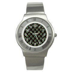 Peacock Inspired Background Stainless Steel Watch by Simbadda