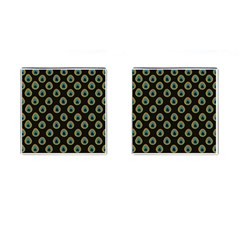 Peacock Inspired Background Cufflinks (square) by Simbadda