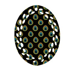 Peacock Inspired Background Ornament (oval Filigree) by Simbadda