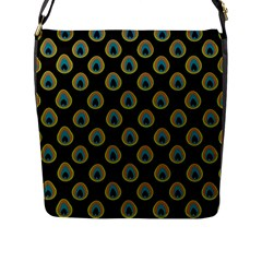 Peacock Inspired Background Flap Messenger Bag (l)  by Simbadda