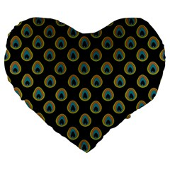 Peacock Inspired Background Large 19  Premium Flano Heart Shape Cushions by Simbadda