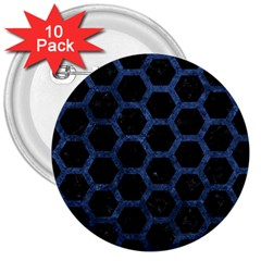 Hexagon2 Black Marble & Blue Stone 3  Button (10 Pack) by trendistuff