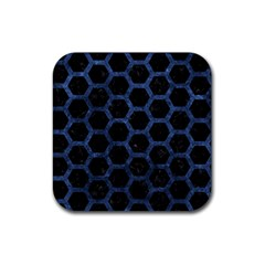 Hexagon2 Black Marble & Blue Stone Rubber Square Coaster (4 Pack) by trendistuff