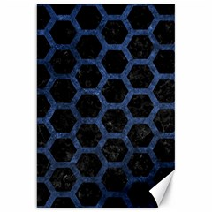 Hexagon2 Black Marble & Blue Stone Canvas 20  X 30  by trendistuff