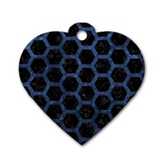 Hexagon2 Black Marble & Blue Stone Dog Tag Heart (two Sides) by trendistuff