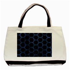 Hexagon2 Black Marble & Blue Stone Basic Tote Bag (two Sides)