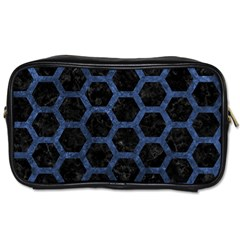 Hexagon2 Black Marble & Blue Stone Toiletries Bag (one Side) by trendistuff