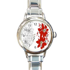 Poinsettia Flower Coloring Page Round Italian Charm Watch by Simbadda