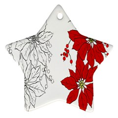 Poinsettia Flower Coloring Page Ornament (star) by Simbadda