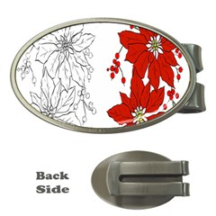 Poinsettia Flower Coloring Page Money Clips (oval)  by Simbadda