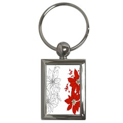 Poinsettia Flower Coloring Page Key Chains (rectangle)  by Simbadda