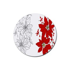 Poinsettia Flower Coloring Page Rubber Round Coaster (4 Pack)  by Simbadda