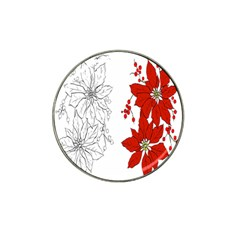 Poinsettia Flower Coloring Page Hat Clip Ball Marker by Simbadda