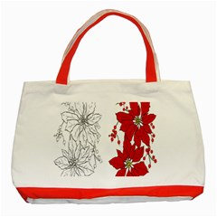Poinsettia Flower Coloring Page Classic Tote Bag (red) by Simbadda
