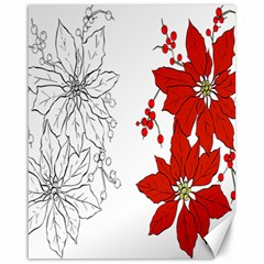 Poinsettia Flower Coloring Page Canvas 16  X 20   by Simbadda