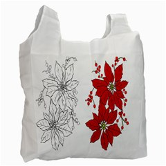 Poinsettia Flower Coloring Page Recycle Bag (two Side)  by Simbadda